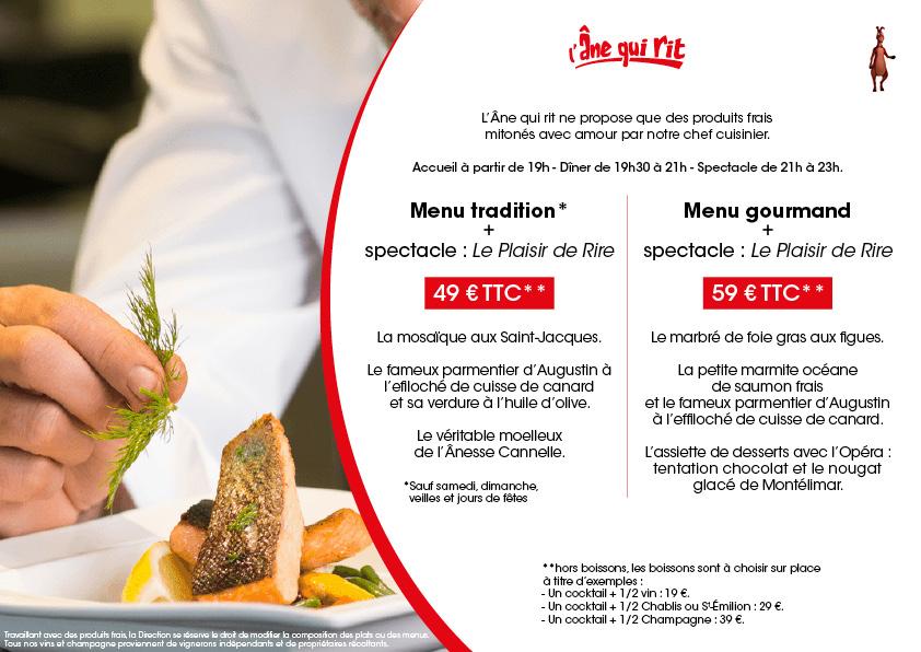 menus individuels diner spectacle