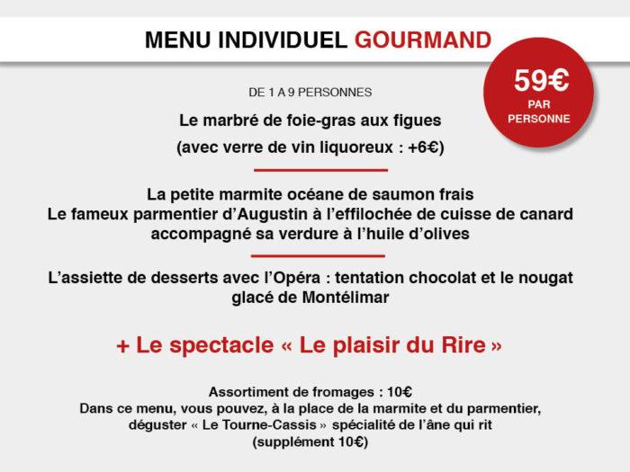 menu dîner-spectacle Gourmand