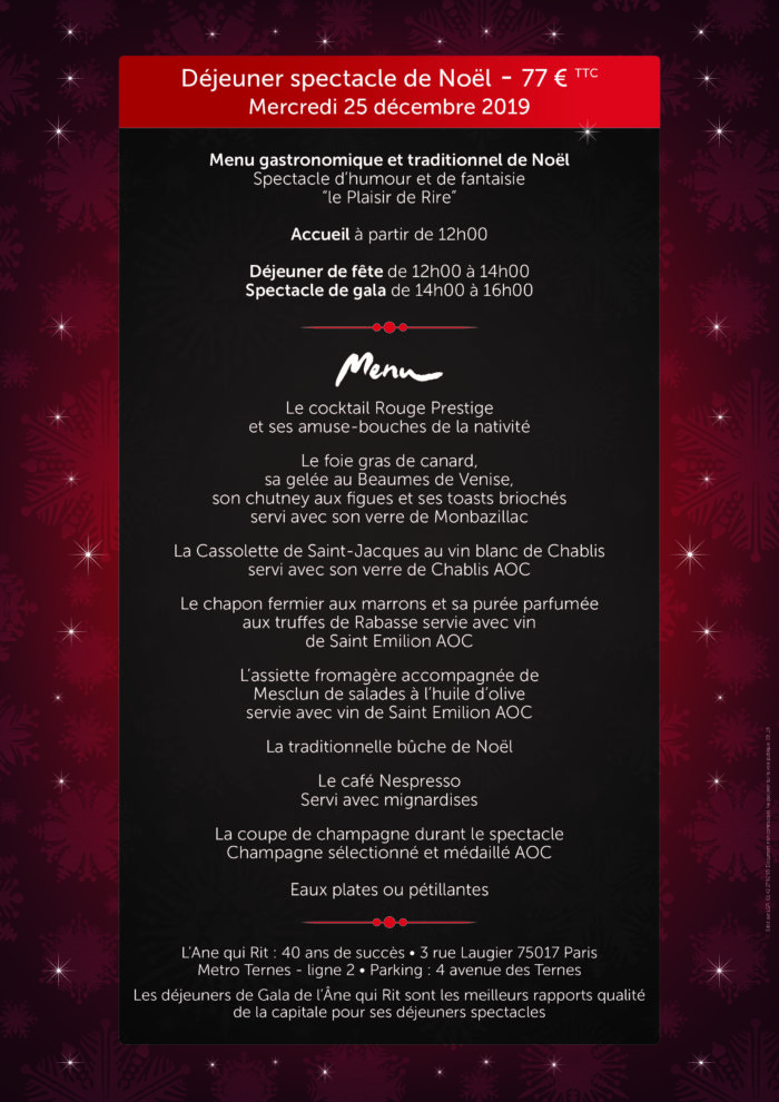 menu dejeuner spectacle de noel